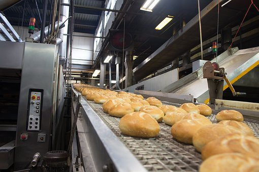 Bakery rolls on a production line